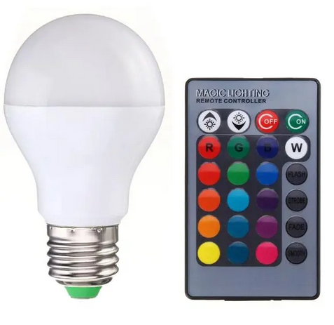 5W E27 B22 RGB Memory Function 16 Colors Changing LED Light Lamp Bulb + Remote Control