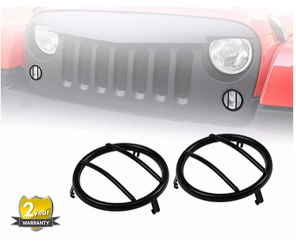 Jeep Wrangler Black Front Turn Signals Steel Cover
