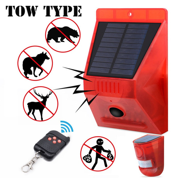 Solar Alarm Light With Remote Controller 129db Sound Security Siren Light IP65 Waterproof 24 Hours+Night Mode Solar Strobe Light With Motion Detector For Home