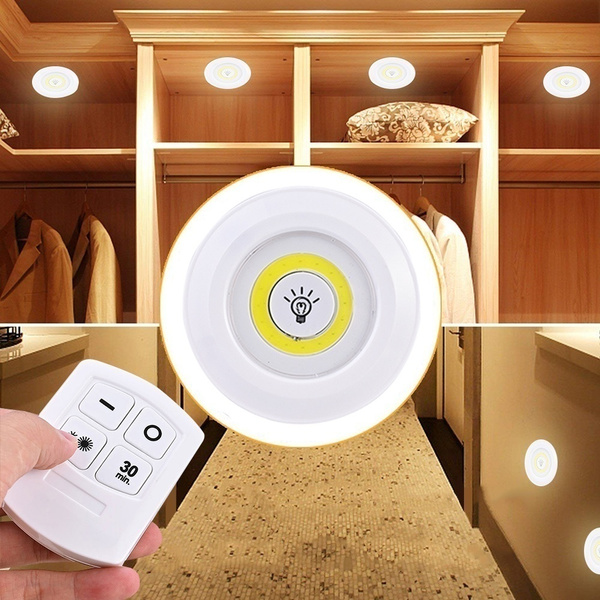 3 X Household Dimmable LED Light With Remote Control LED Under Cabinet Lights For Closets Wardrobe Bathroom Lighting Remote Closets Wardrobe Bathroom Home Lighting(battery Not Include)