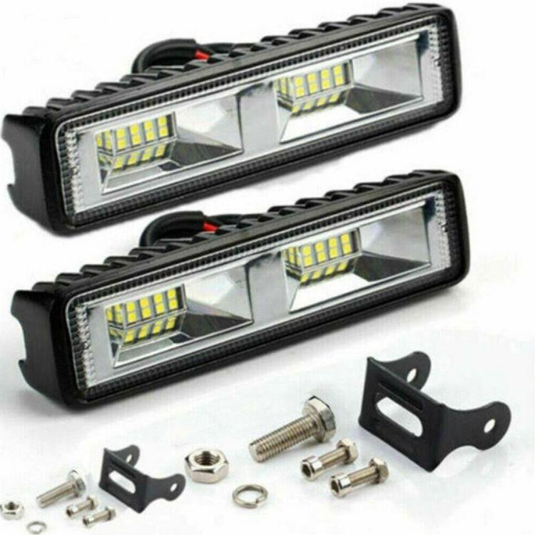 48 Watt 6 Inch 4800 Lumens 16 LED Bar Light Work Light – Set Of Two