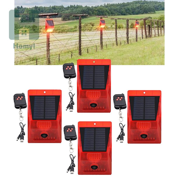 4x Solar Alarm Light IP65 Motion Sensor Outdoor Garden Deck Security Lamp COMBO