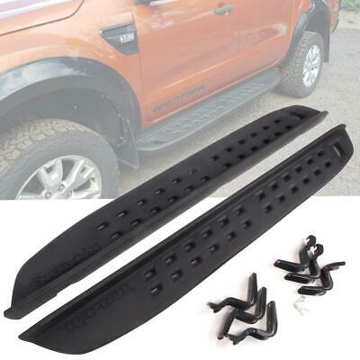 Side Steps Bars Pedal Black Fit 2012+ Ford Ranger Raptor Style Running Board ABS PLASTIC