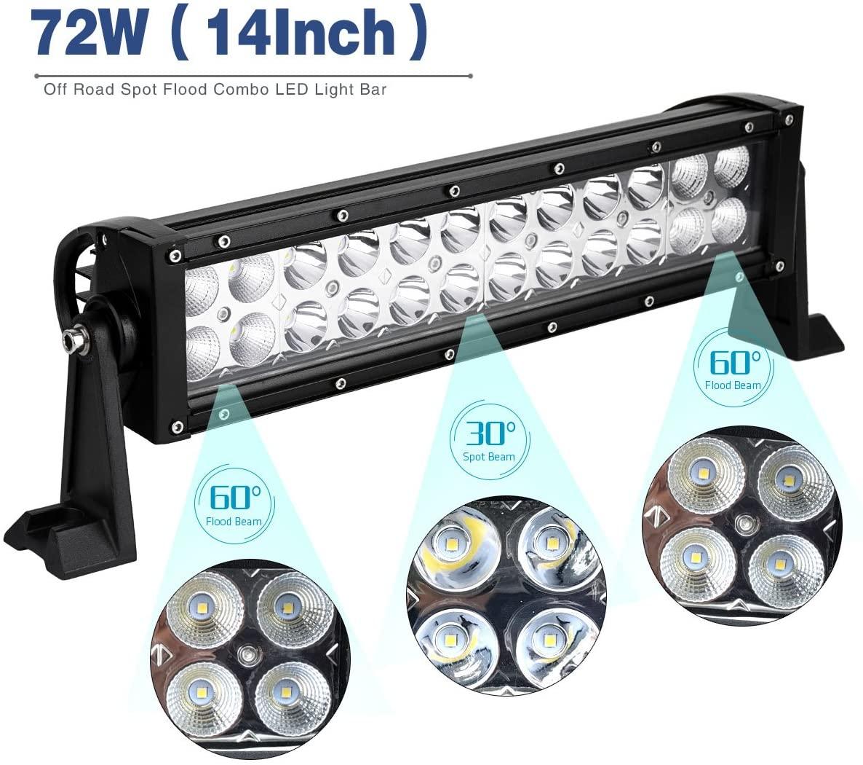 LED Light Bar / Led Spot Light 72W 14Inch LED Work Light Spot Flood Combo