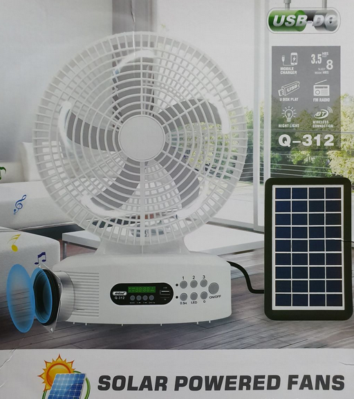 Fan – Solar Powered Rechargeable Fan With Speakers And LED Light