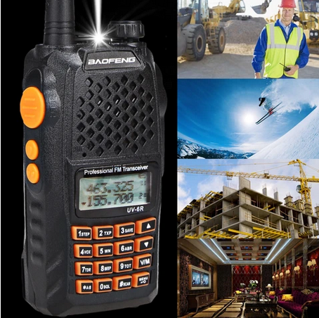 BAOFENG UV-6R Dual Band Two Way Radio Transceiver 136-174/400-520MHz High Power 5W/1W 65-108MHz FM Black