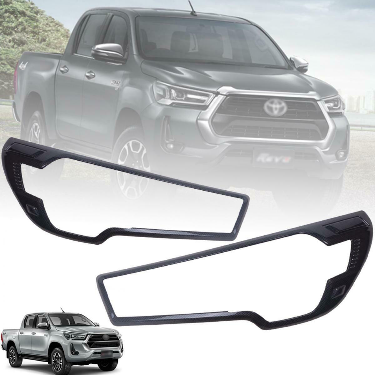 Cover Head Light Lamp Black For Toyota Hilux Revo Rocco 4WD 2020-2021