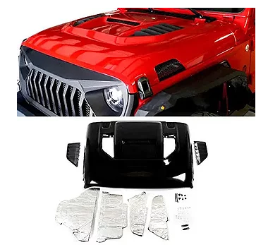 Jeep Wrangler JL Warcraft Vented Hood – Steel Black E-coated, Ready To Paint