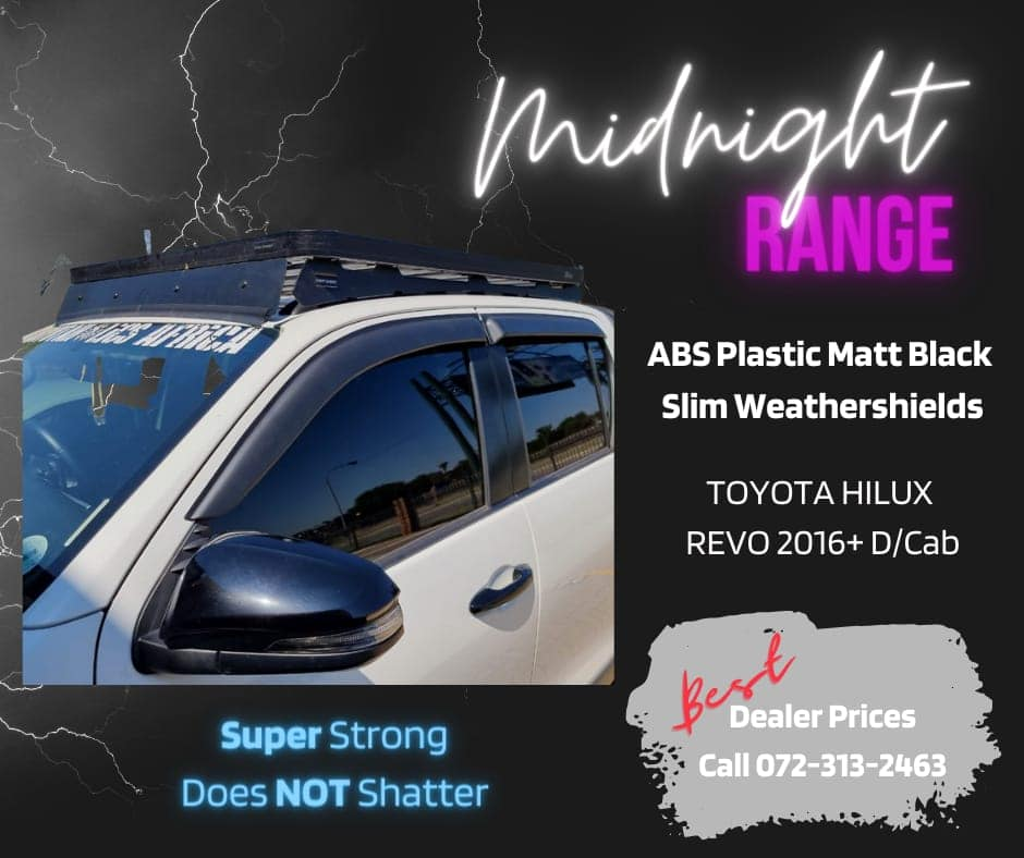Toyota Hilux D/Cab 2016+ Midnight Range ABS Plastic Black Slim Weathershields