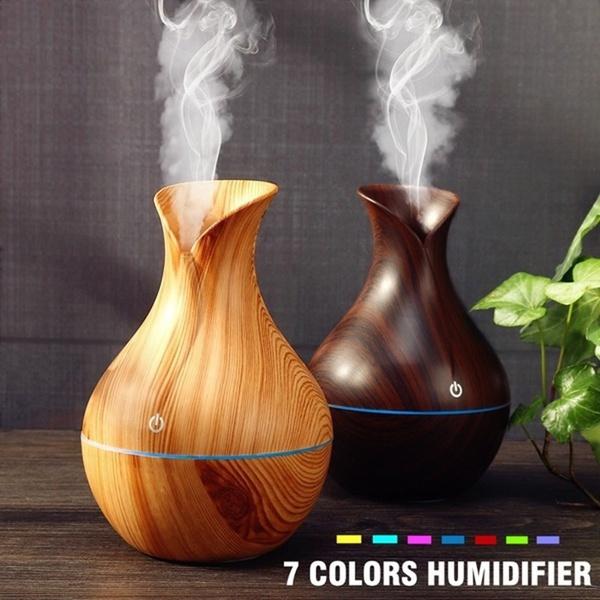 USB LED Wood Grain Aroma Humidifier – Light Brown