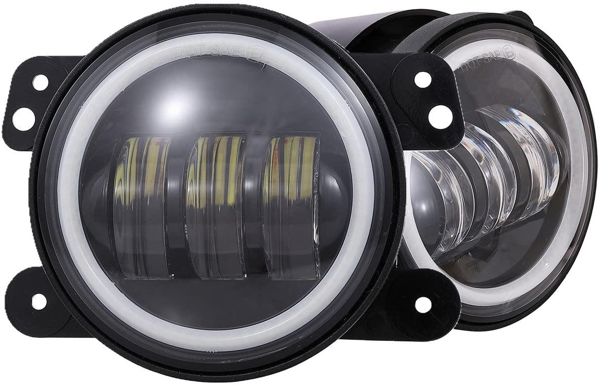 4 Inch UNIVERSAL 30 Watt Led Fog Lights W/ Amber Halo Ring DRL For 2010-2018 Jeep Wrangler JK