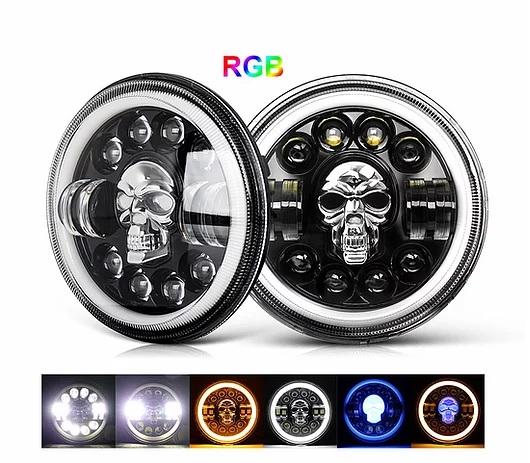7″ RGB LED SKULL Projector Headlight