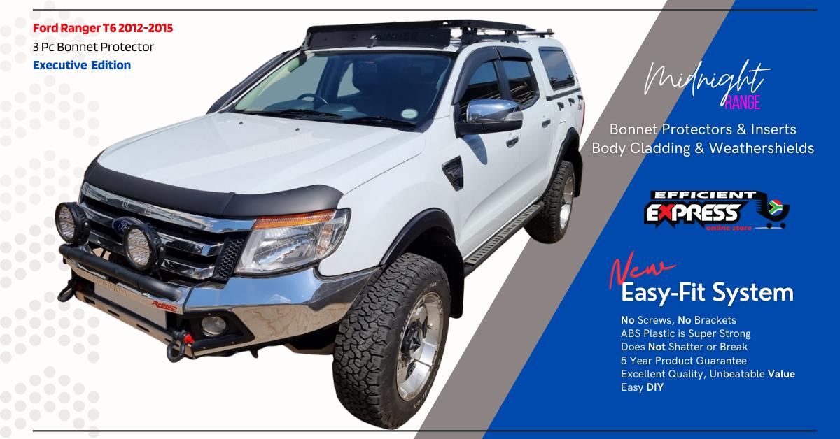 Ford Ranger T6 2012-2015 Bonnet Protectors Bonnet Guard (3pc) ABS Plastic Executive Range