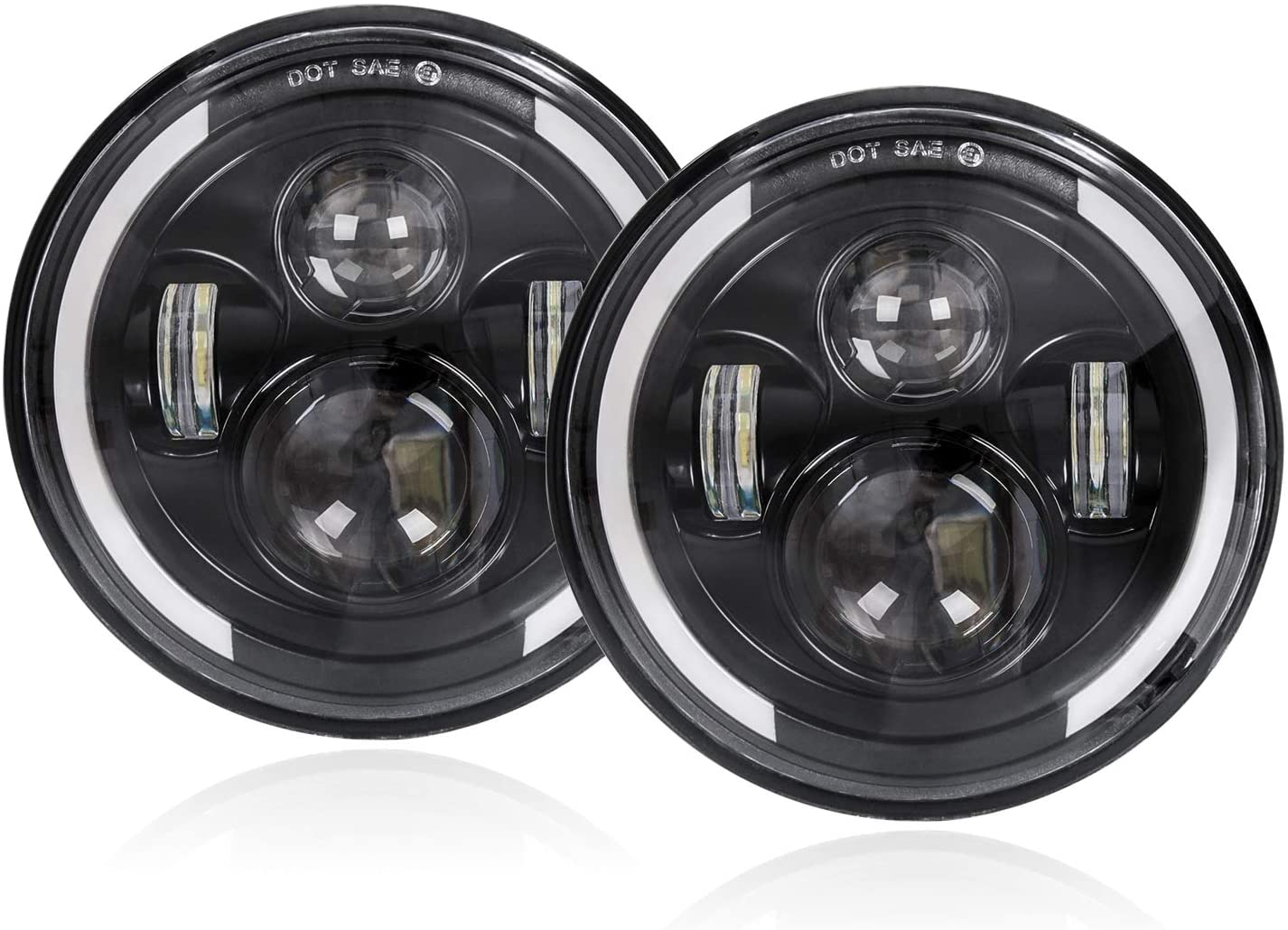 45 Watt – 7 Inch Replacement LED Headlights With DRL And Turn Signal – Bracket / Quarter Halo (Plug & Play)