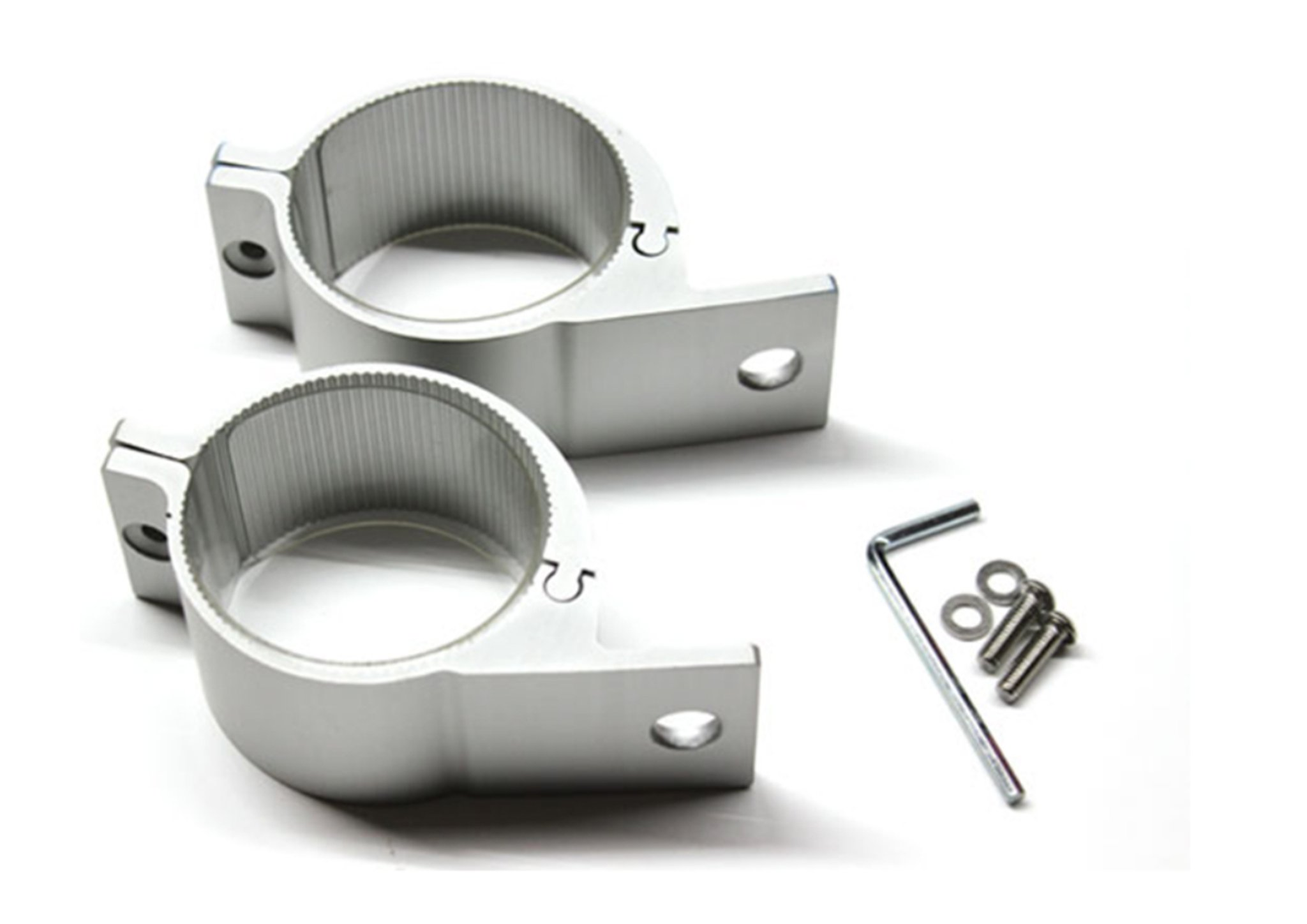 Silver Spot Light Nudge Bar Clamps 76mm SET OF 2