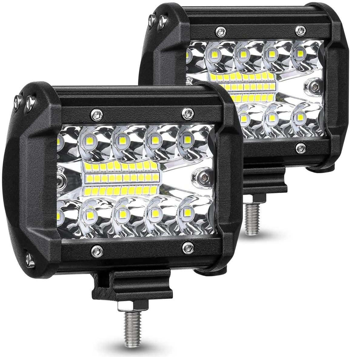 Led Light Bar / Led Spot Light LED Pods Light Bar 4-Inch 120-watt 12800-lumen Driving Fog Off Road Lights Triple Row Set Of 2