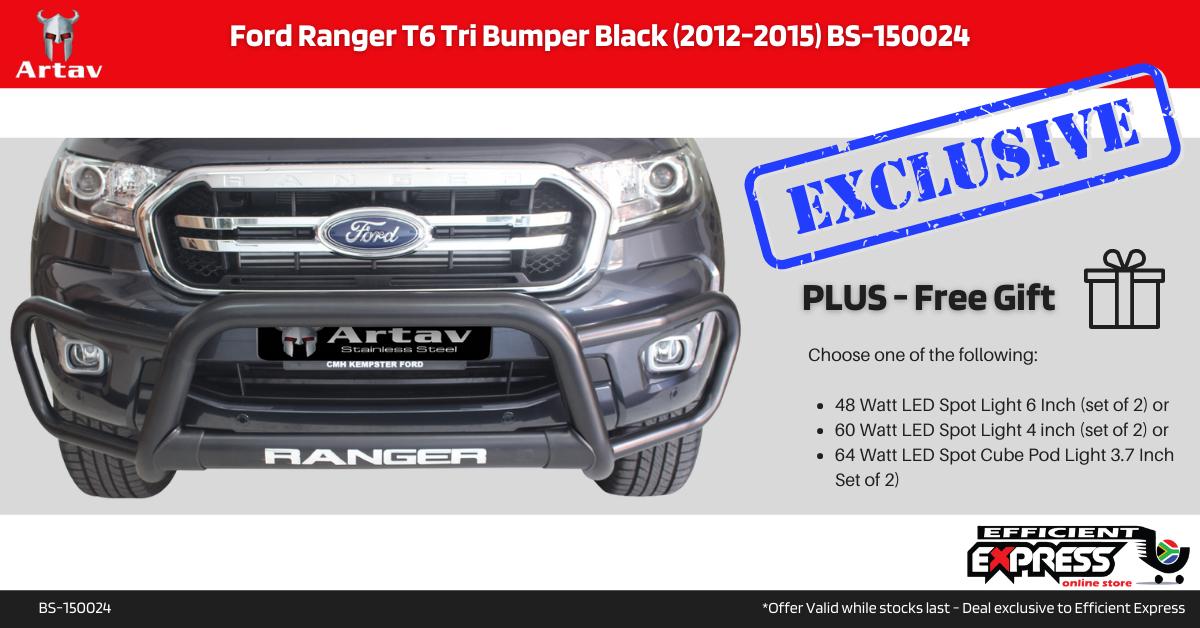 Ford Ranger T6 Tri Bumper Nudge Bar Black (2012-2015) BS-150024