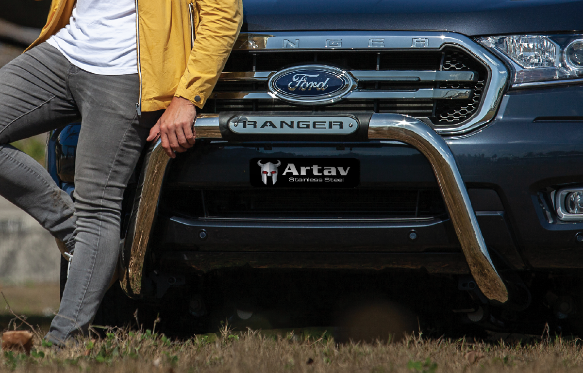 Ford Ranger T6 Facelift PDC Nudge Bar Stainless 2016> Oval Range 150046T – Plus FREE LED Spot Lights