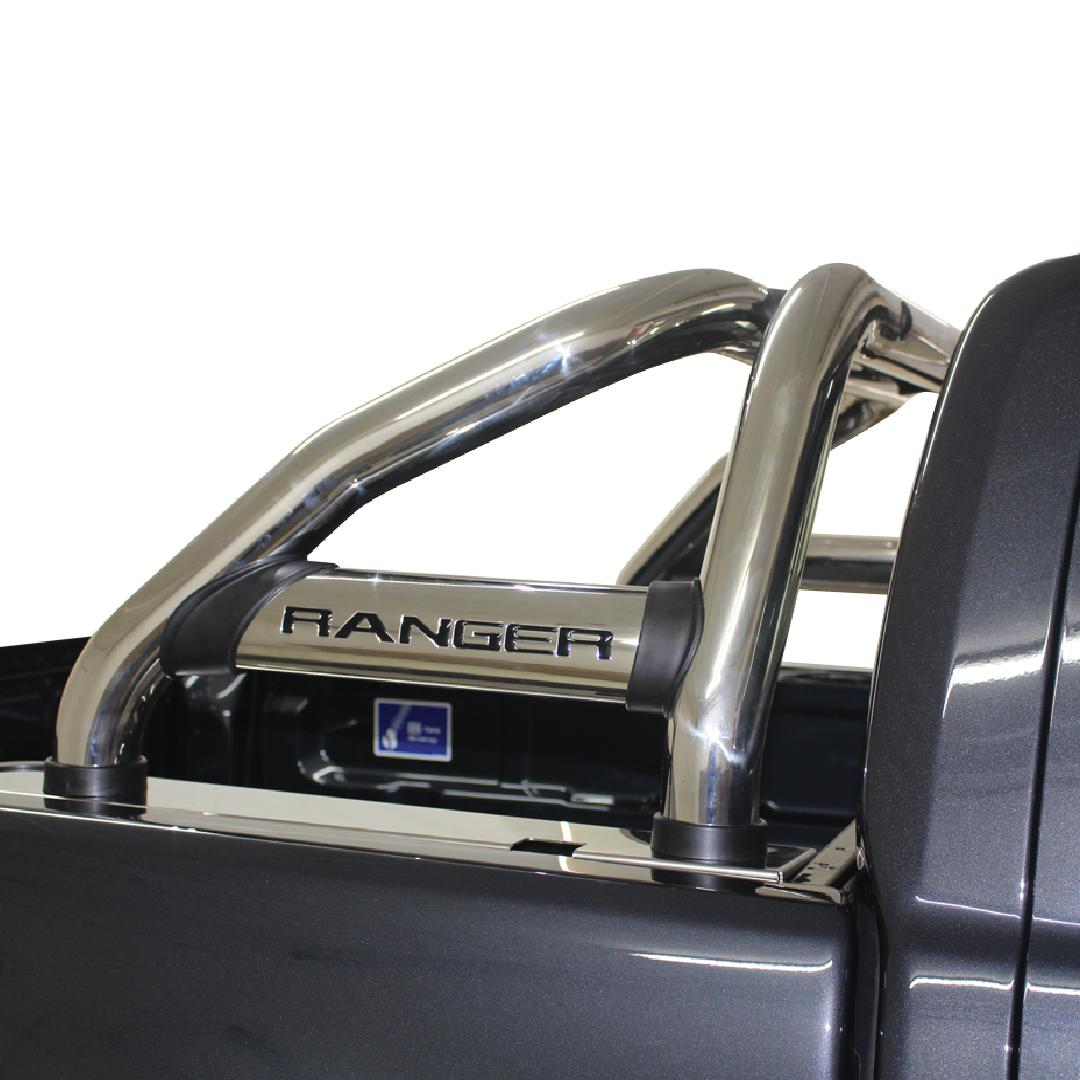 Ford Ranger T6 Facelift  Sports Bar Roll Bar Stainless (Black Base Plates) 2012> 150043T – Plus FREE LED Spot Lights