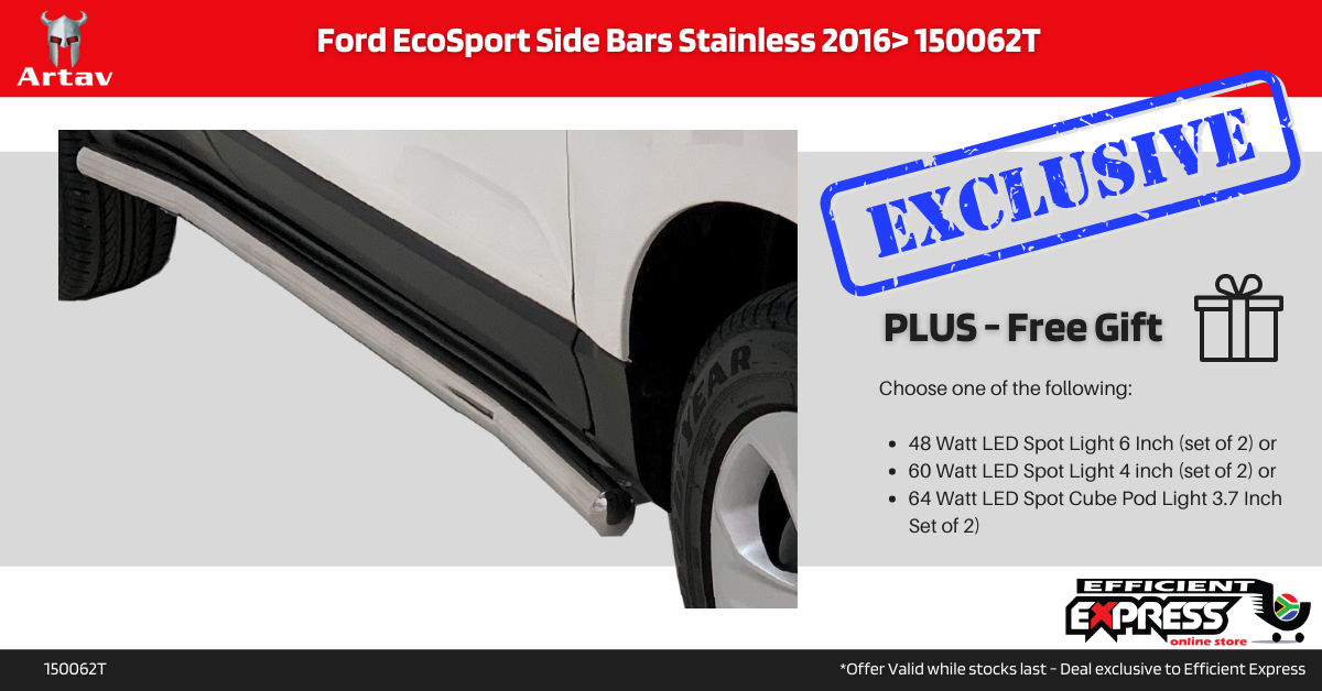 Ford EcoSport Side Bars Side Steps Stainless 2016> 150062T