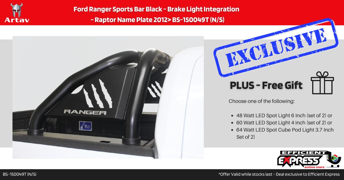 Ford Ranger Sports Bar Roll Bar Black – Brake Light Integration  – Raptor Name Plate 2012> BS-150049T (N/S)