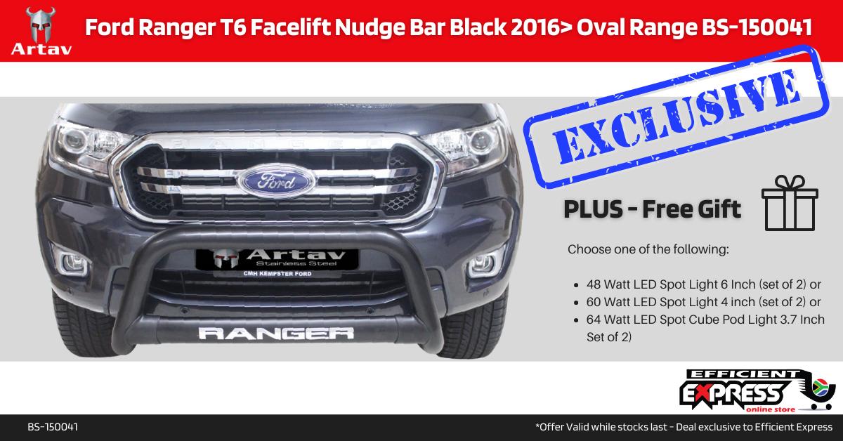 Ford Ranger T6 Facelift Nudge Bar Black 2016> Oval Range BS-150041T