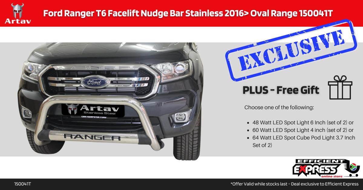 Ford Ranger T6 Facelift Nudge Bar Stainless 2016> Oval Range 150041T
