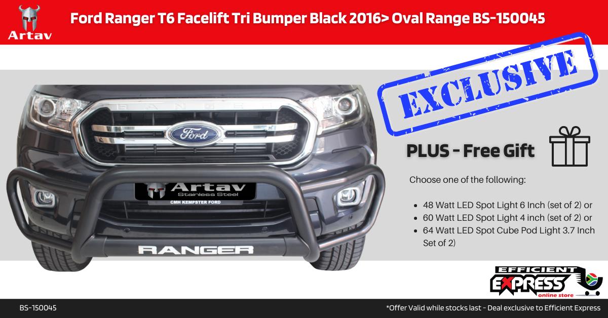 Ford Ranger T6 Facelift Tri Bumper Nudge Bar Black 2016> Oval Range BS-150045