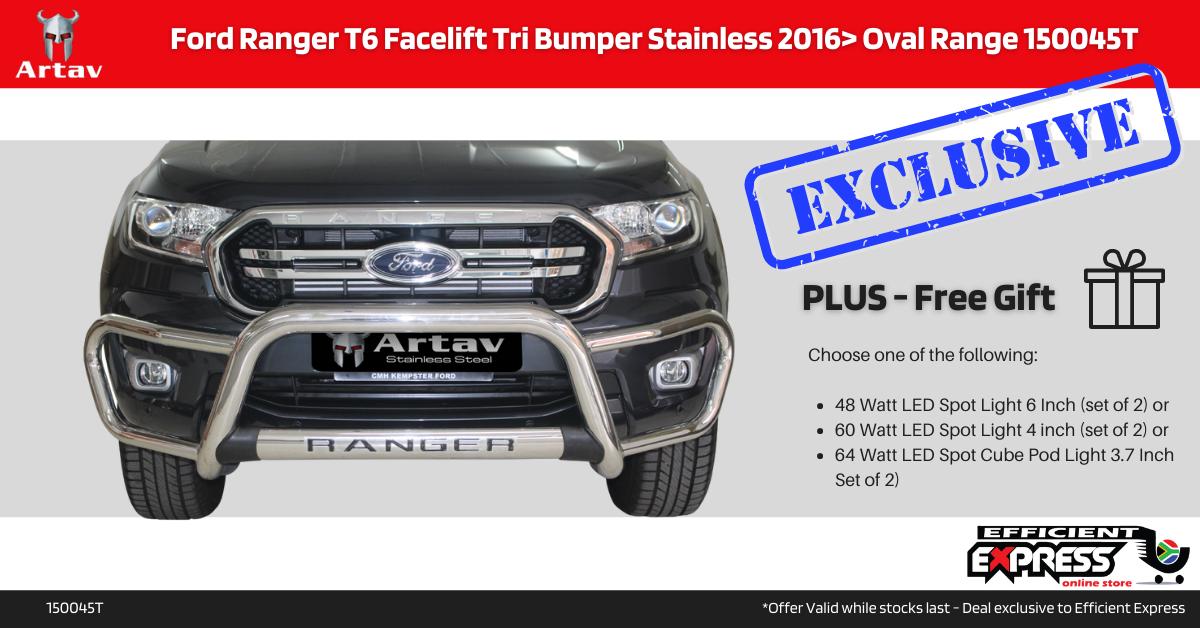Ford Ranger T6 Facelift Tri Bumper Stainless 2016> Oval Range 150045T