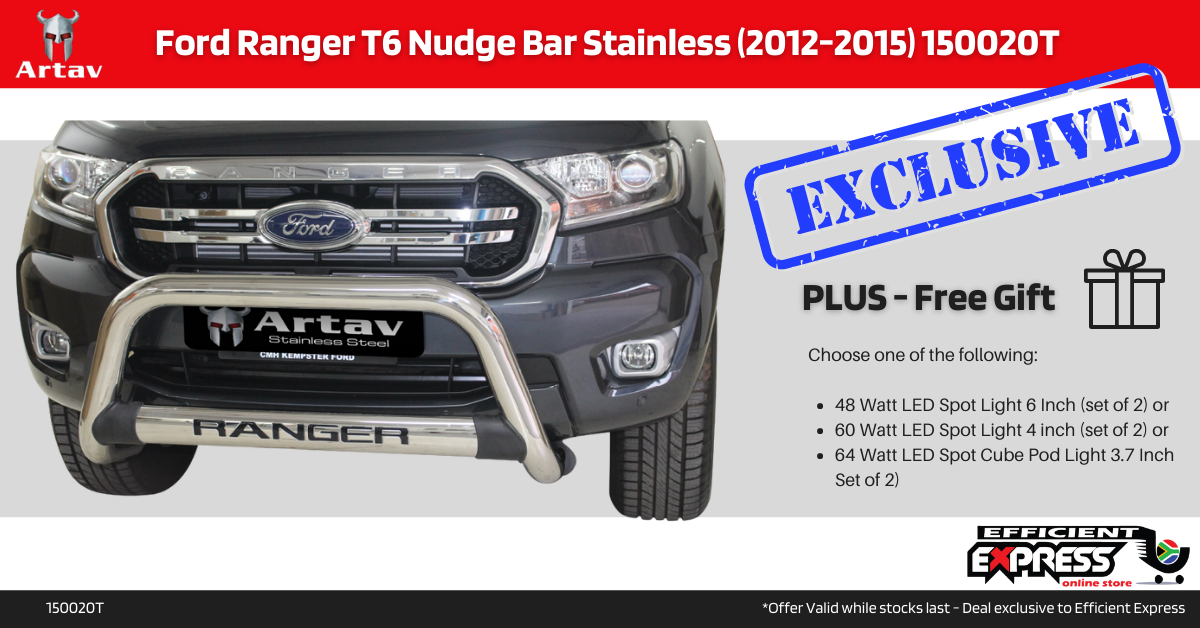 Ford Ranger T6 Nudge Bar Stainless (2012-2015) 150020T