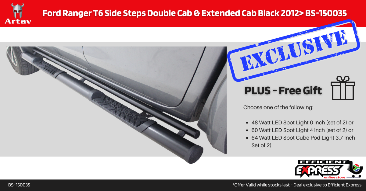 Ford Ranger T6 Side Steps Double Cab & Extended Cab Black 2012> BS-150035