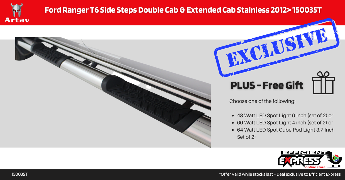 Ford Ranger T6 Side Steps Double Cab & Extended Cab Stainless 2012> 150035T