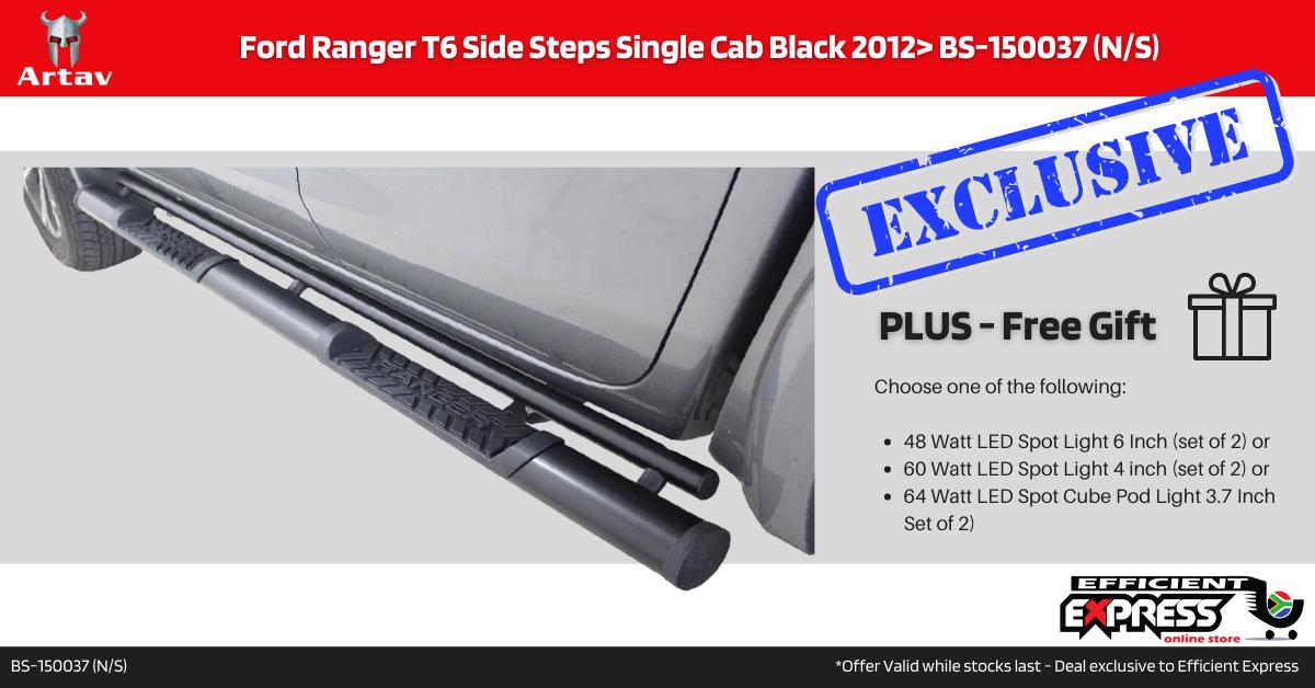 Ford Ranger T6 Side Steps Single Cab Black 2012> BS-150037 (N/S)