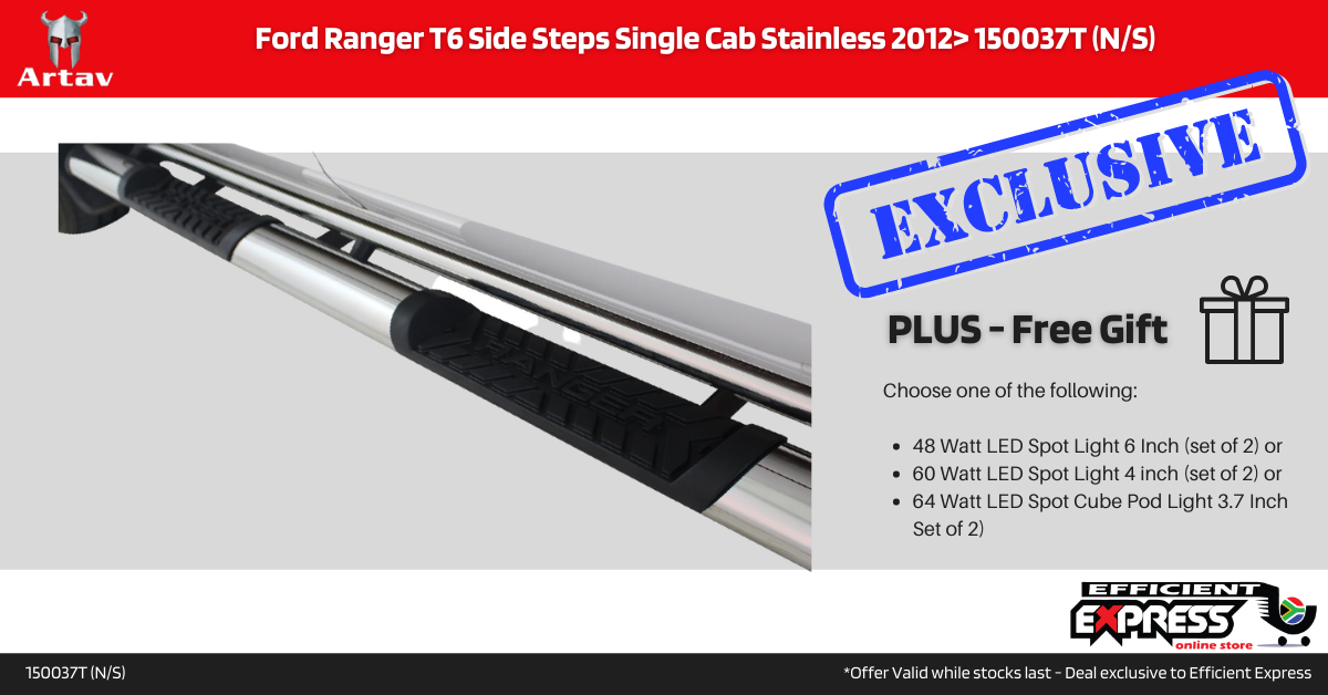 Ford Ranger T6 Side Steps Single Cab Stainless 2012> 150037T (N/S)