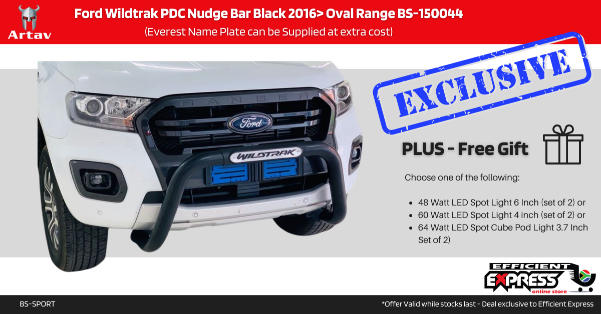 Ford Wildtrak PDC Nudge Bar Black 2016> Oval Range BS-150044 (Everest Name Plate Can Be Supplied At Extra Cost)