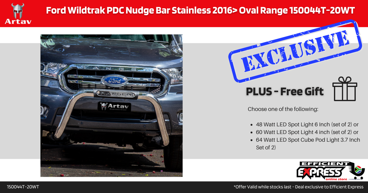 Ford Wildtrak PDC Nudge Bar Stainless 2016> Oval Range 150044T-20WT