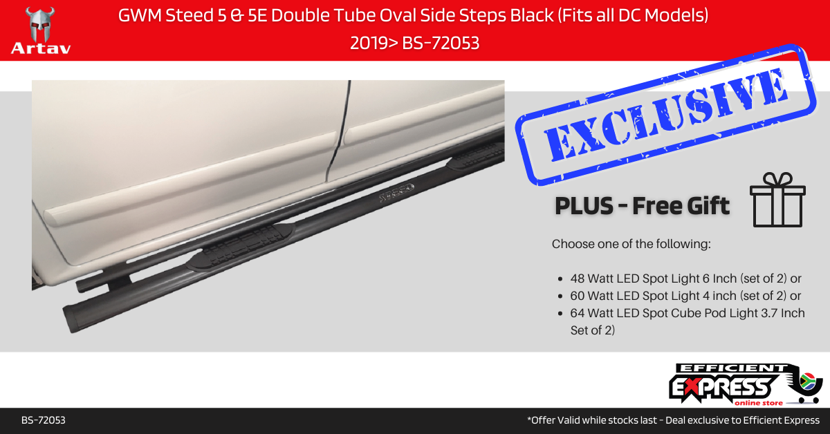 GWM Steed 5 & 5E Double Tube Oval Side Steps Black (Fits All DC Models)  2019> BS-72053