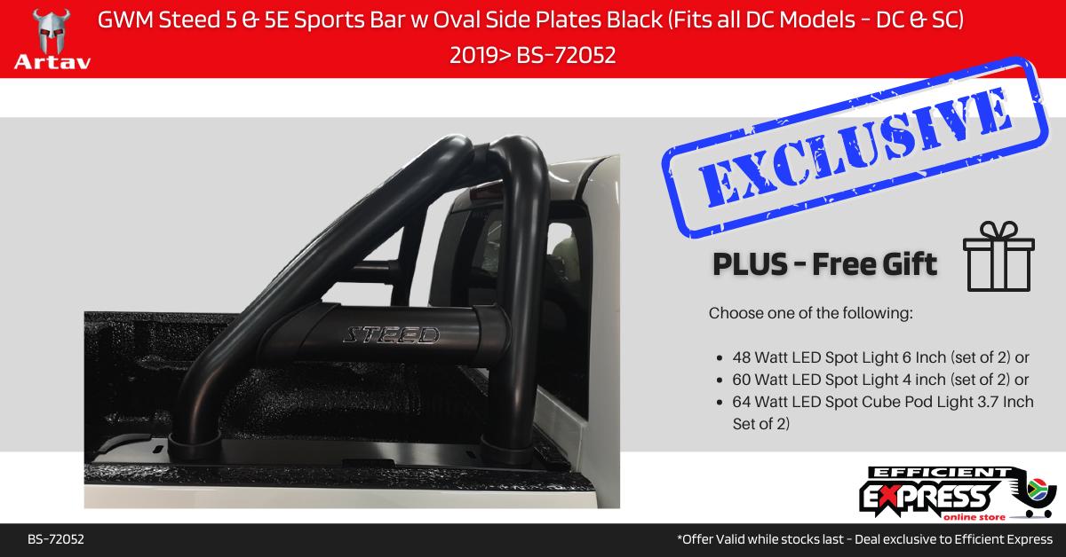 GWM Steed 5 & 5E Sports Bar Roll Bar W Oval Side Plates Black (Fits All DC Models – DC & SC)  2019> BS-72052