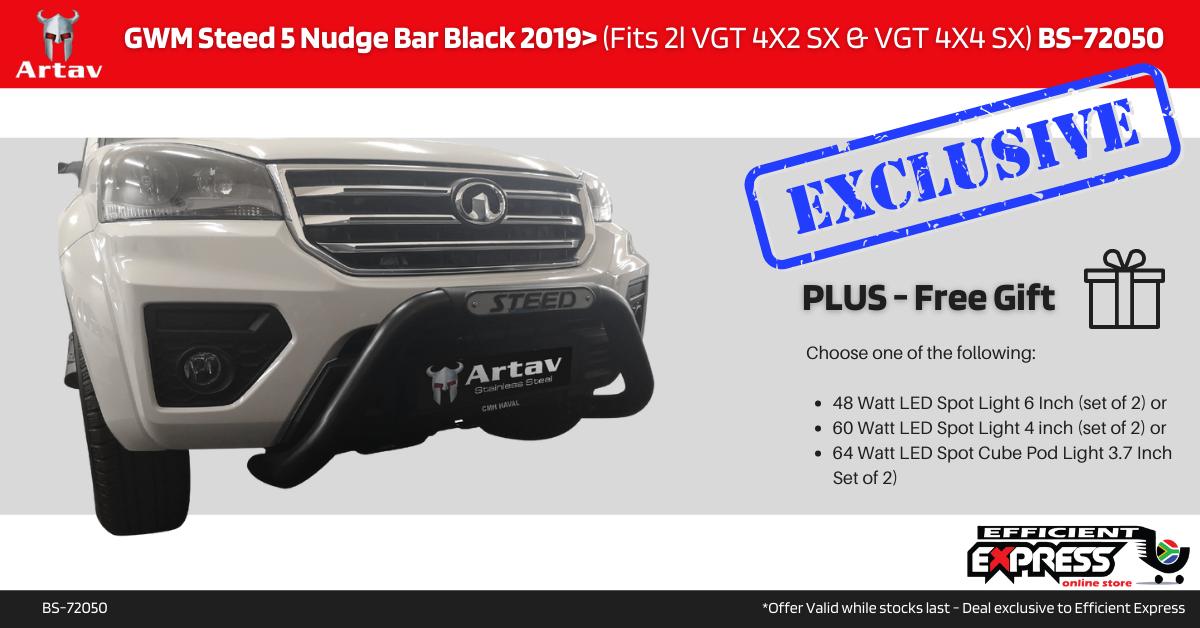 GWM Steed 5 Nudge Bar Black 2019> (Fits 2l VGT 4X2 SX & VGT 4X4 SX) BS-72050