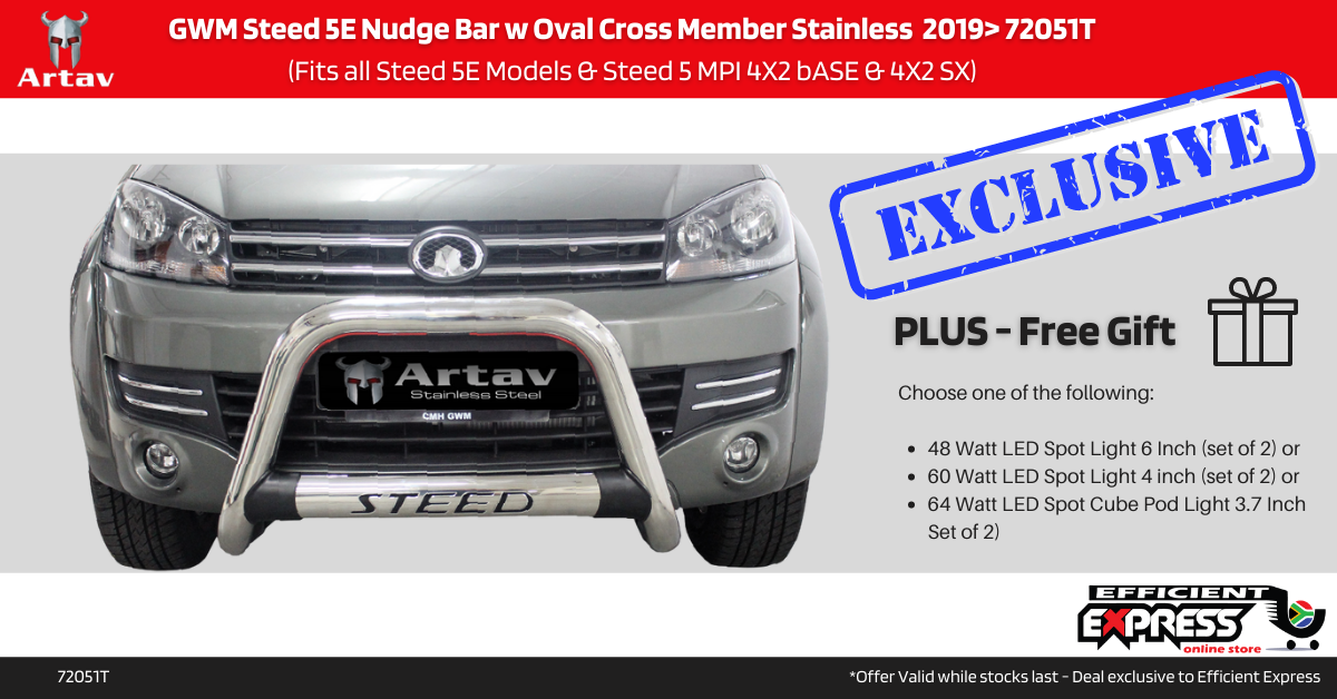 GWM Steed 5E Nudge Bar W Oval Cross Member Stainless  2019> 72051T (Fits All Steed 5E Models & Steed 5 MPI 4X2 Base & 4X2 SX)