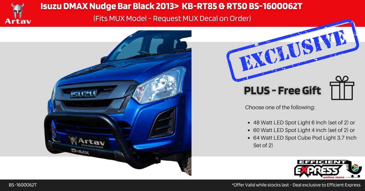 Isuzu DMAX Nudge Bar Black 2013>  KB-RT85 & RT50 BS-1600062T (Fits MUX Model – Request MUX Decal On Order)