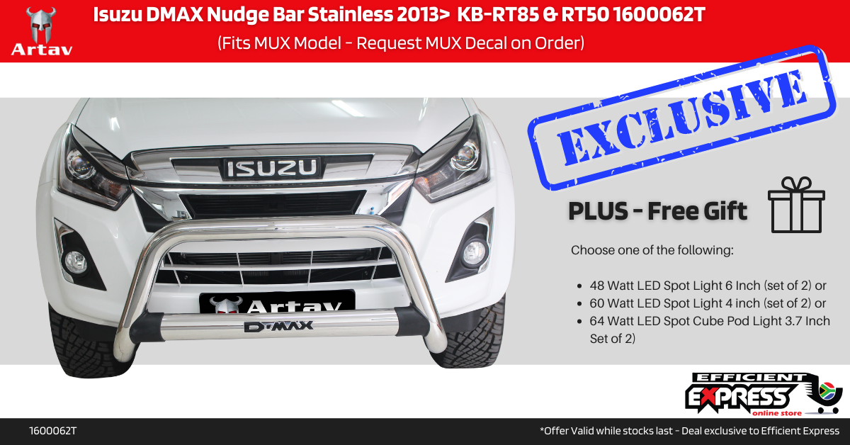 Isuzu DMAX Nudge Bar Stainless 2013>  KB-RT85 & RT50 1600062T (Fits MUX Model – Request MUX Decal On Order)