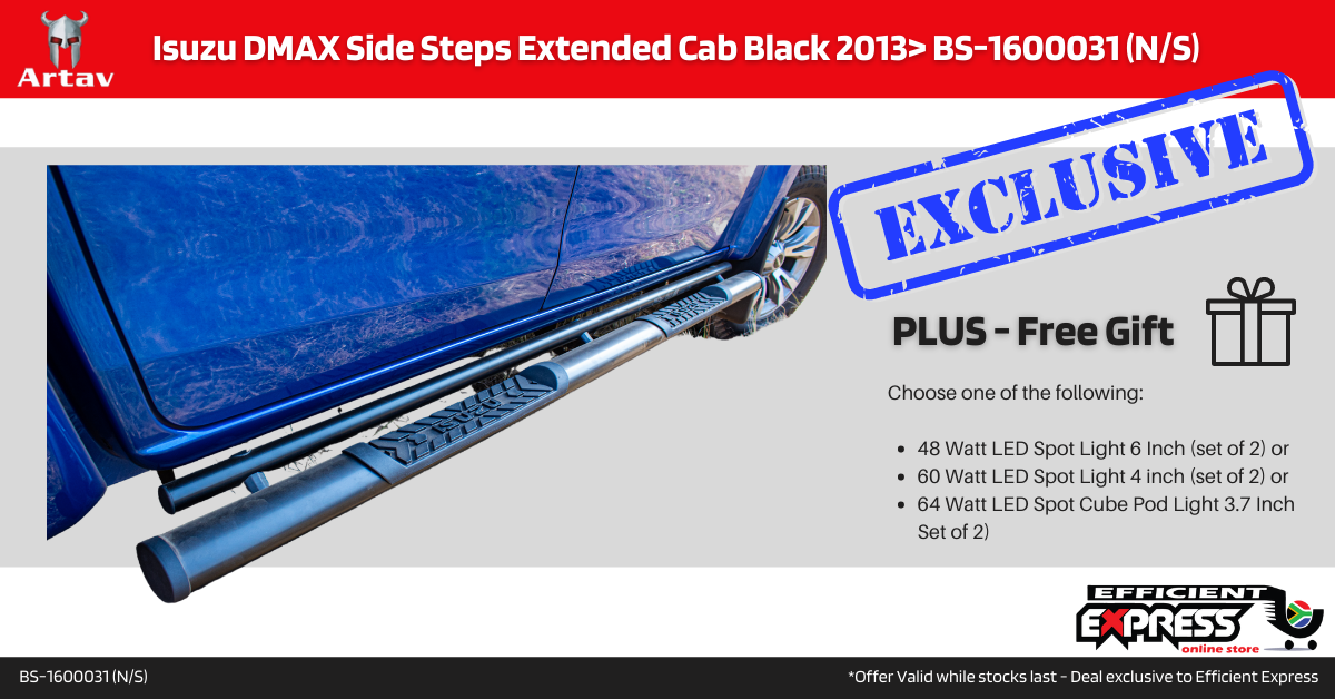 Isuzu DMAX Side Steps Extended Cab Black 2013> BS-1600031 (N/S)