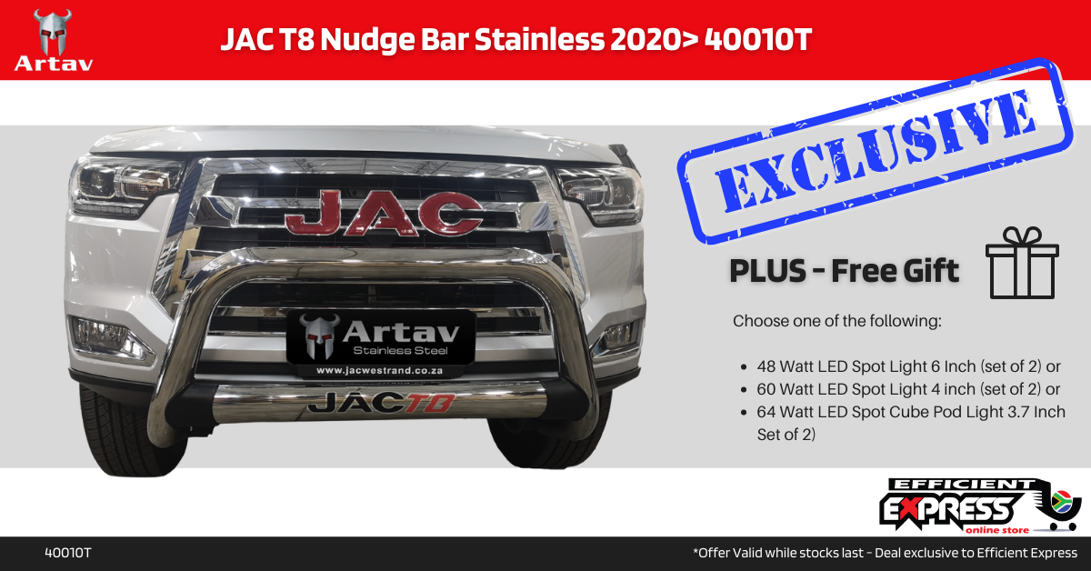 JAC T8 Nudge Bar Stainless 2020> 40010T