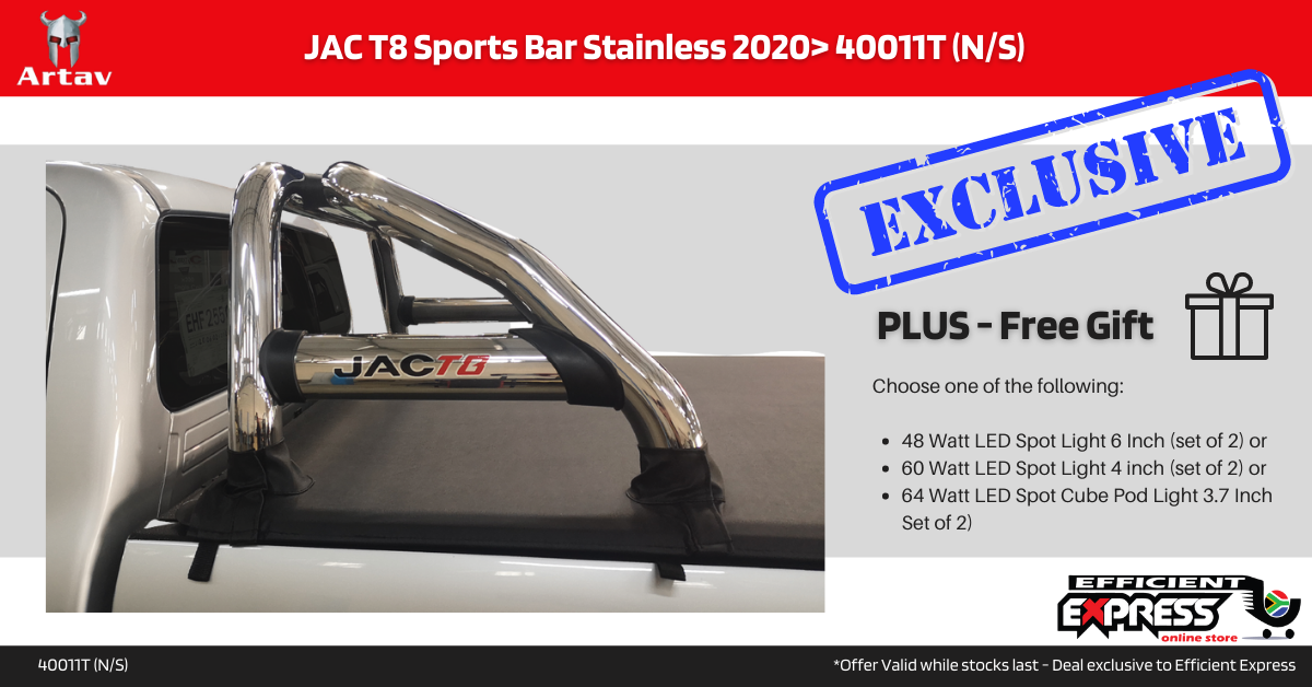 JAC T8 Sports Bar Roll Bar Stainless 2020> 40011T (N/S)