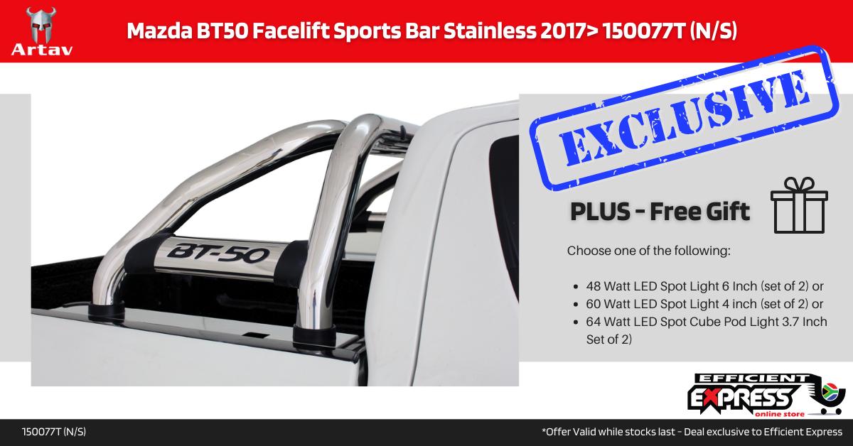 Mazda BT50 Facelift Sports Bar Roll Bar Stainless 2017> 150077T (N/S)