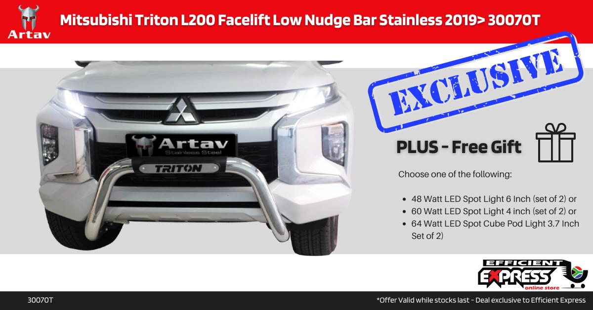 Mitsubishi Triton L200 Facelift Low Nudge Bar Stainless 2019> 30070T