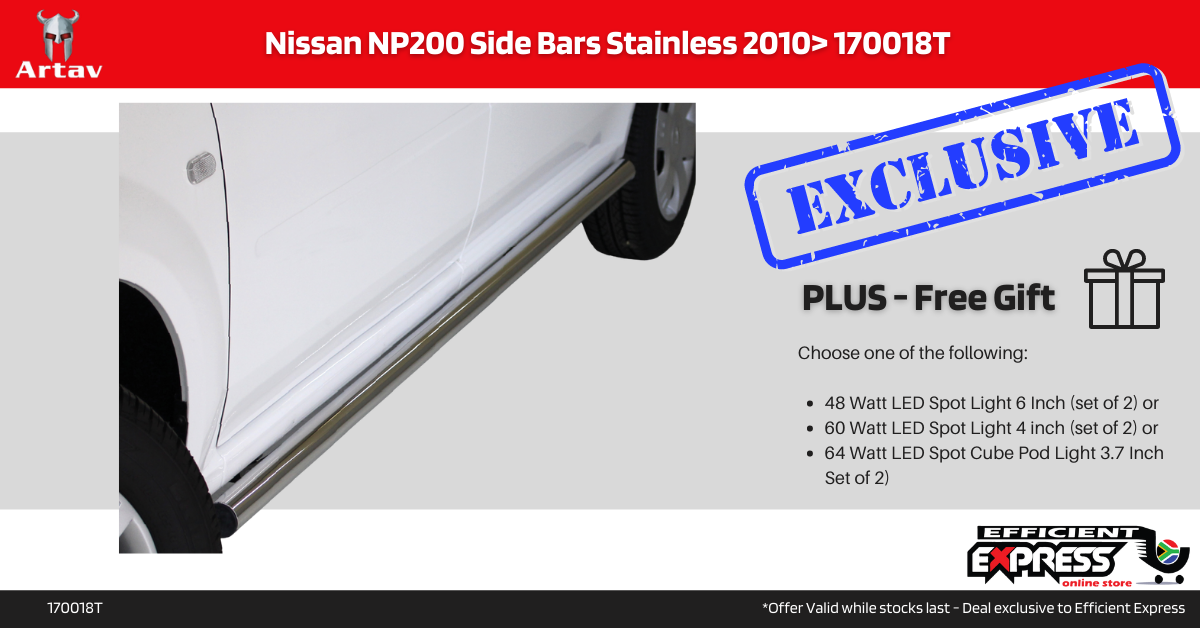 Nissan NP200 Side Steps Bars Stainless 2010+ 170018T