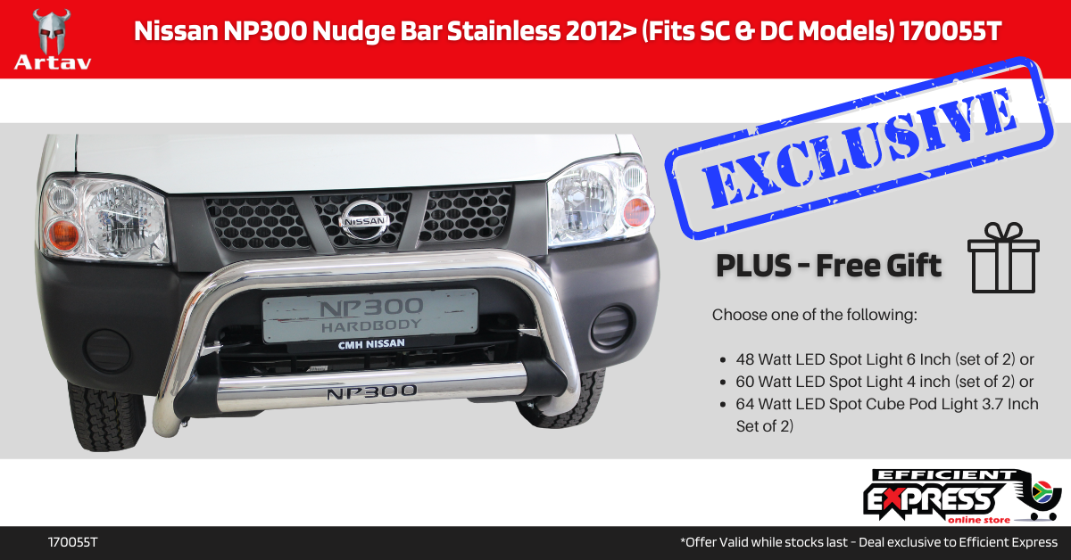 Nissan NP300 Nudge Bar Stainless 2012+ (Fits SC & DC Models) 170055T