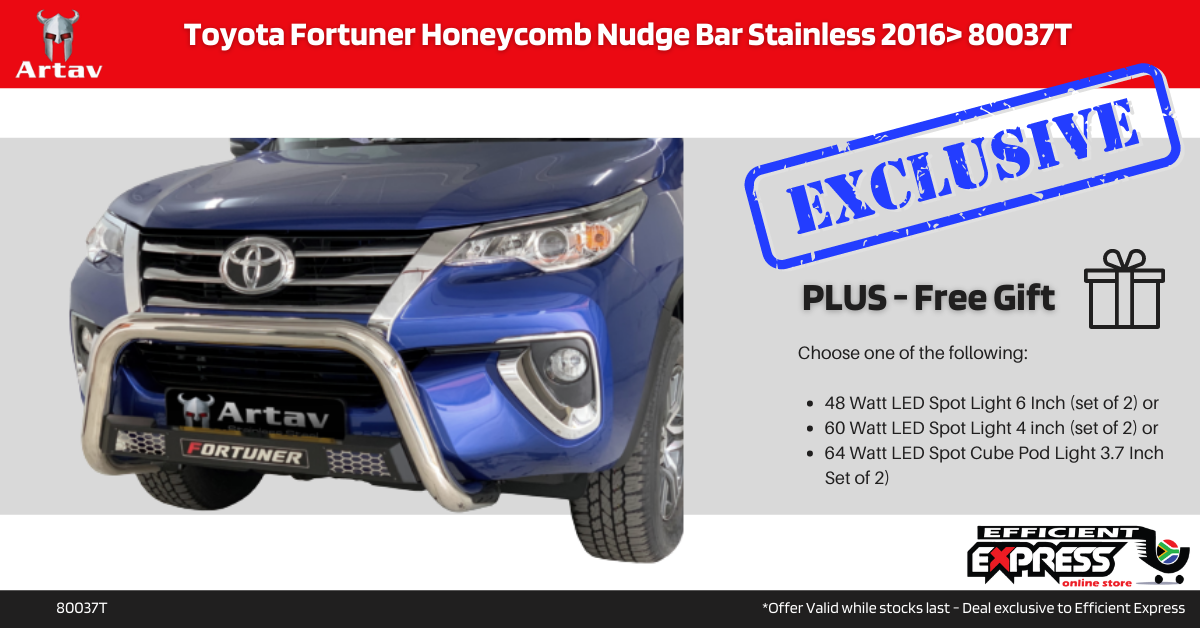 Toyota Fortuner Honeycomb Nudge Bar Stainless 2016> 80037T